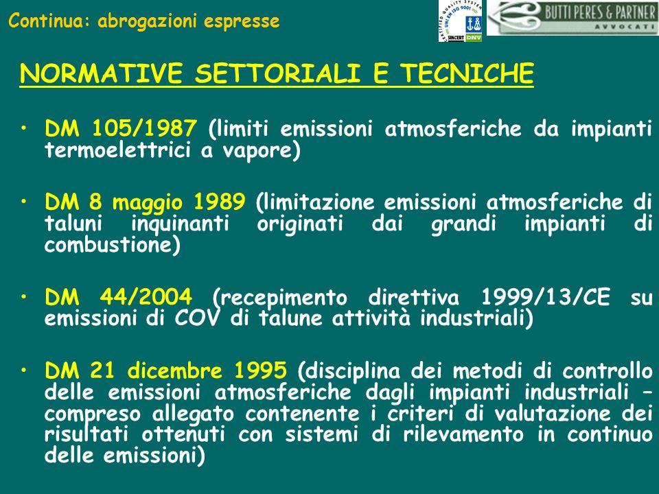 Continua: abrogazioni espresse NORMATIVE SETTORIALI E TECNICHE DM 105/1987 (limiti emissioni atmosferiche da impianti termoelettrici a vapore) DM 8 ma