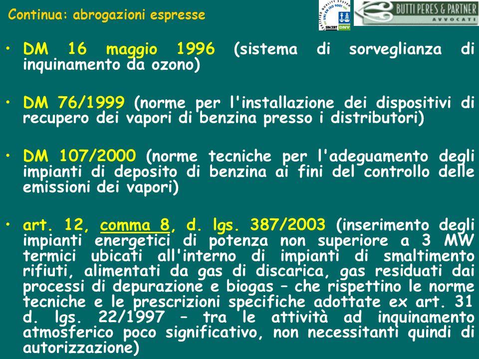 Continua: abrogazioni espresse DM 16 maggio 1996 (sistema di sorveglianza di inquinamento da ozono) DM 76/1999 (norme per l'installazione dei disposit