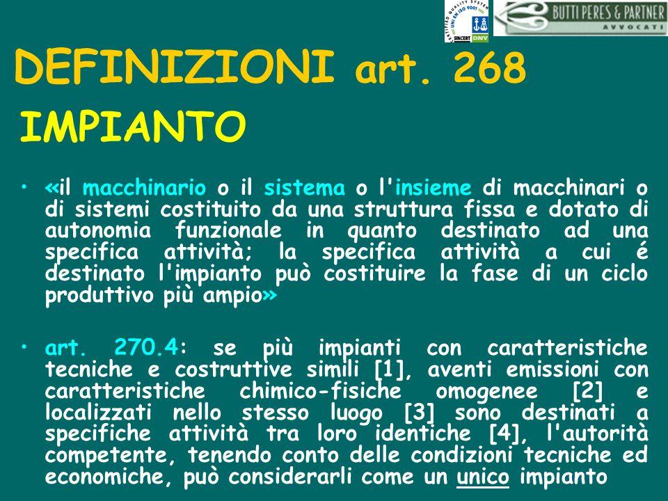DEFINIZIONI art. 268 IMPIANTO «il macchinario o il sistema o l'insieme di macchinari o di sistemi costituito da una struttura fissa e dotato di autono