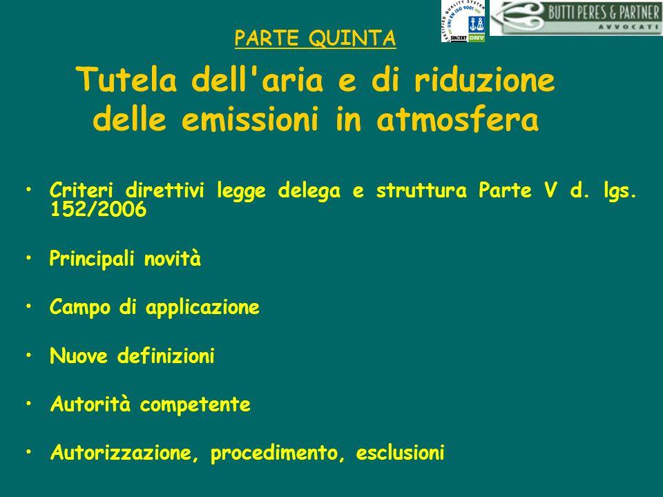 PARTE QUINTA Tutela dell'aria e di riduzione delle emissioni in atmosfera Criteri direttivi legge delega e struttura Parte V d. lgs. 152/2006 Principa