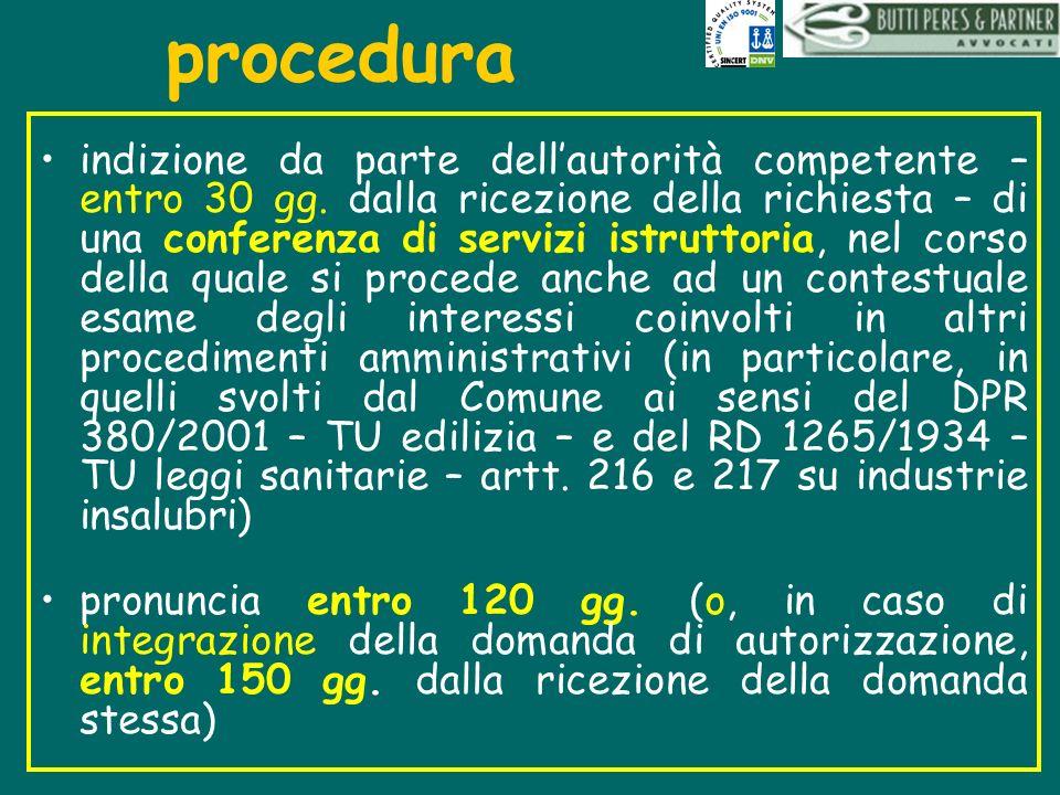 procedura indizione da parte dellautorità competente – entro 30 gg. dalla ricezione della richiesta – di una conferenza di servizi istruttoria, nel co