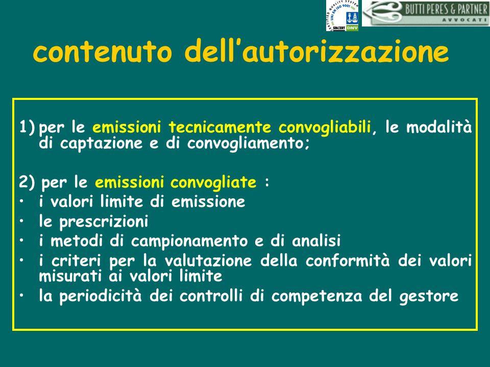 contenuto dellautorizzazione 1)per le emissioni tecnicamente convogliabili, le modalità di captazione e di convogliamento; 2) per le emissioni convogl