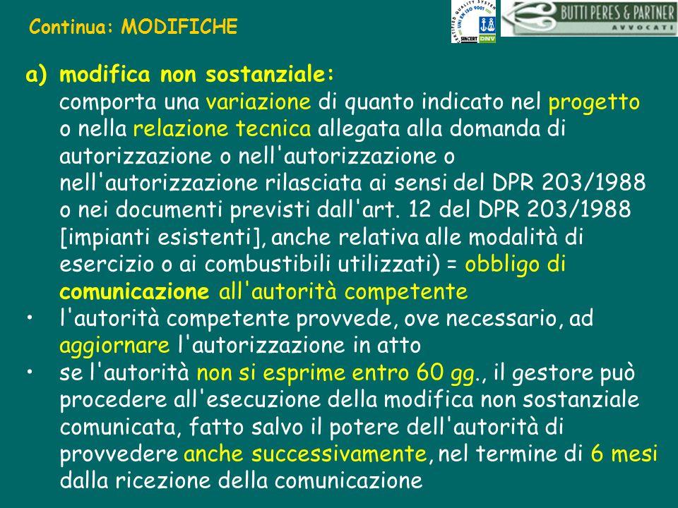 Continua: MODIFICHE a)modifica non sostanziale: comporta una variazione di quanto indicato nel progetto o nella relazione tecnica allegata alla domand