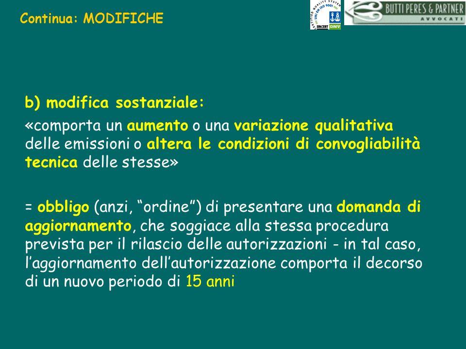 Continua: MODIFICHE b) modifica sostanziale: «comporta un aumento o una variazione qualitativa delle emissioni o altera le condizioni di convogliabili