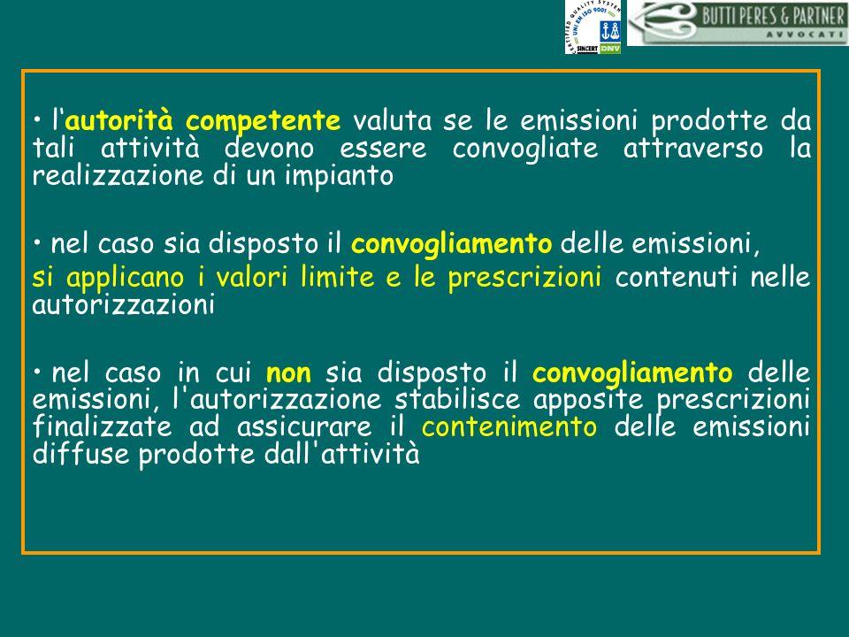 lautorità competente valuta se le emissioni prodotte da tali attività devono essere convogliate attraverso la realizzazione di un impianto nel caso si