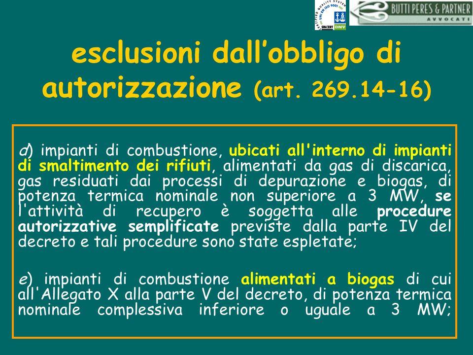 esclusioni dallobbligo di autorizzazione (art. 269.14-16) d) impianti di combustione, ubicati all'interno di impianti di smaltimento dei rifiuti, alim