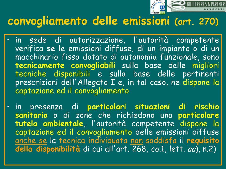 convogliamento delle emissioni (art. 270) in sede di autorizzazione, l'autorità competente verifica se le emissioni diffuse, di un impianto o di un ma