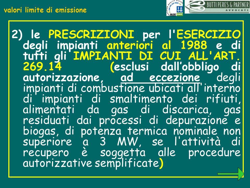 valori limite di emissione 2) le PRESCRIZIONI per l'ESERCIZIO degli impianti anteriori al 1988 e di tutti gli IMPIANTI DI CUI ALL'ART. 269.14 (esclusi