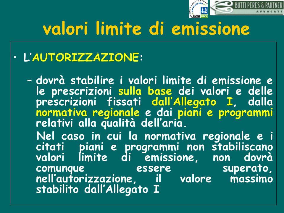 valori limite di emissione LAUTORIZZAZIONE: –dovrà stabilire i valori limite di emissione e le prescrizioni sulla base dei valori e delle prescrizioni