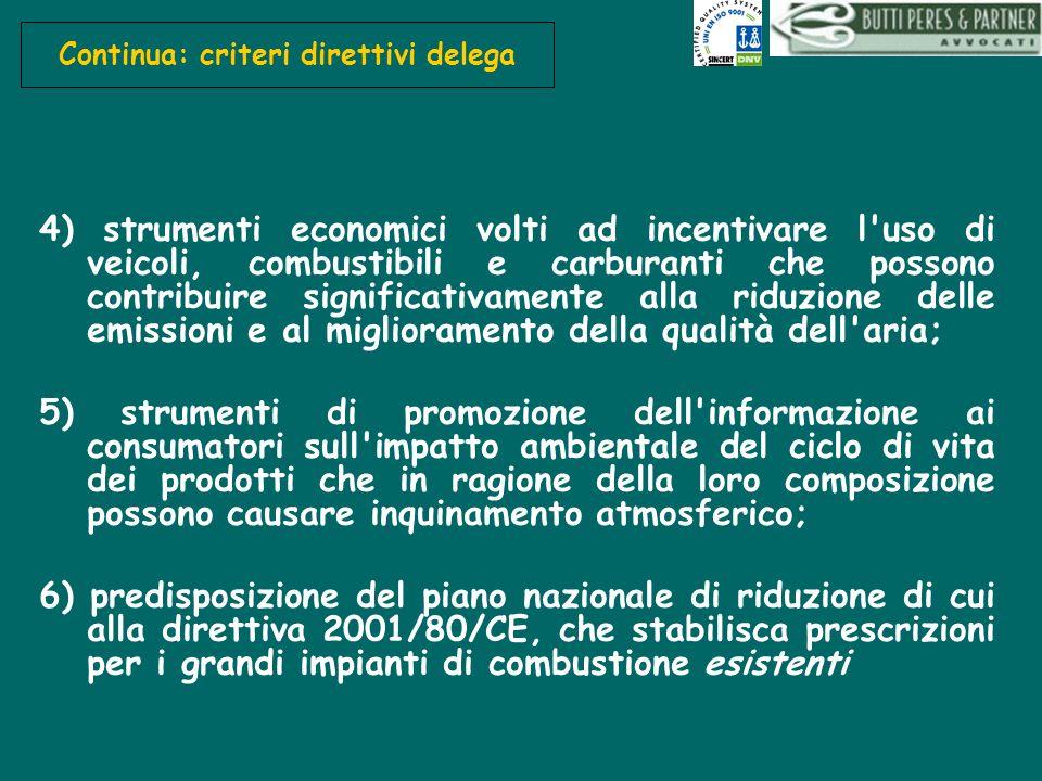 Continua: criteri direttivi delega 4) strumenti economici volti ad incentivare l'uso di veicoli, combustibili e carburanti che possono contribuire sig