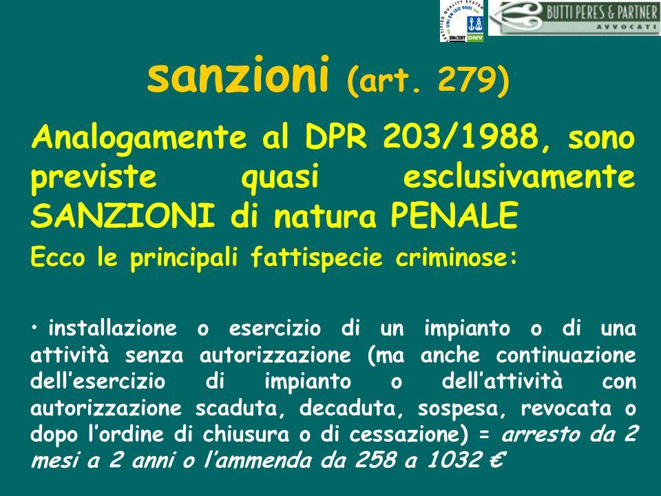 sanzioni (art. 279) Analogamente al DPR 203/1988, sono previste quasi esclusivamente SANZIONI di natura PENALE Ecco le principali fattispecie criminos