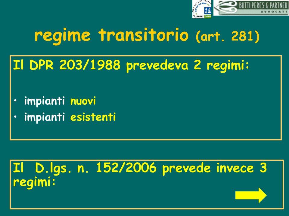 regime transitorio (art. 281) Il DPR 203/1988 prevedeva 2 regimi: impianti nuovi impianti esistenti Il D.lgs. n. 152/2006 prevede invece 3 regimi: