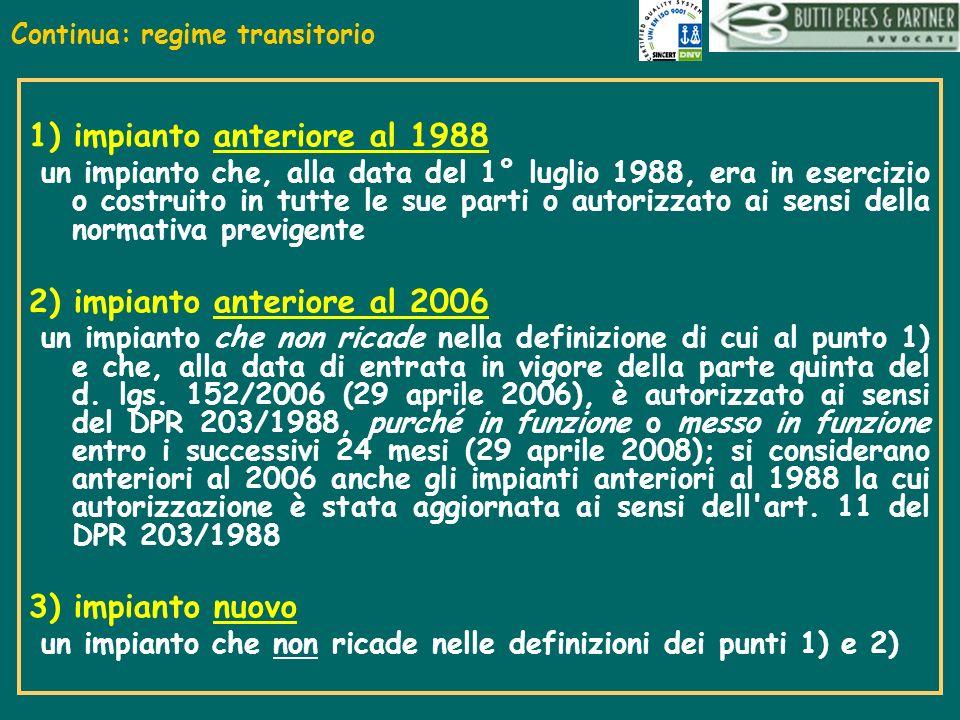 Continua: regime transitorio 1) impianto anteriore al 1988 un impianto che, alla data del 1° luglio 1988, era in esercizio o costruito in tutte le sue