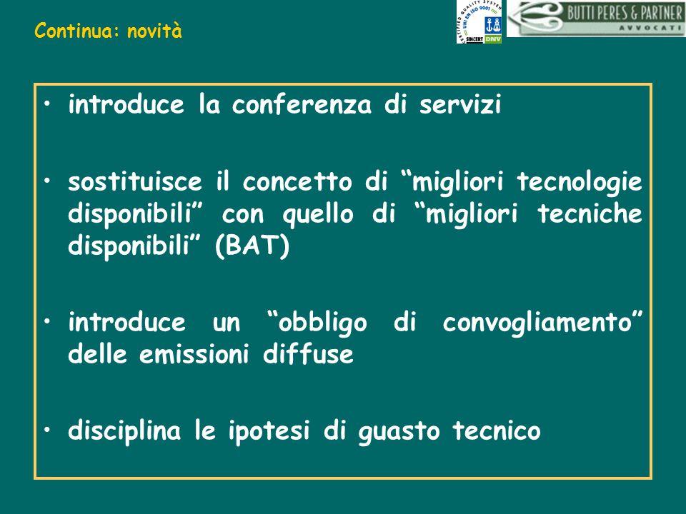 Continua: novità introduce la conferenza di servizi sostituisce il concetto di migliori tecnologie disponibili con quello di migliori tecniche disponi