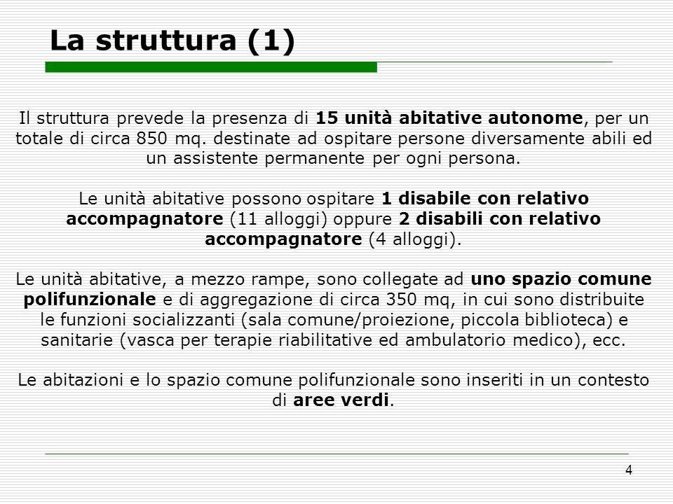 4 La struttura (1) Il struttura prevede la presenza di 15 unità abitative autonome, per un totale di circa 850 mq. destinate ad ospitare persone diver