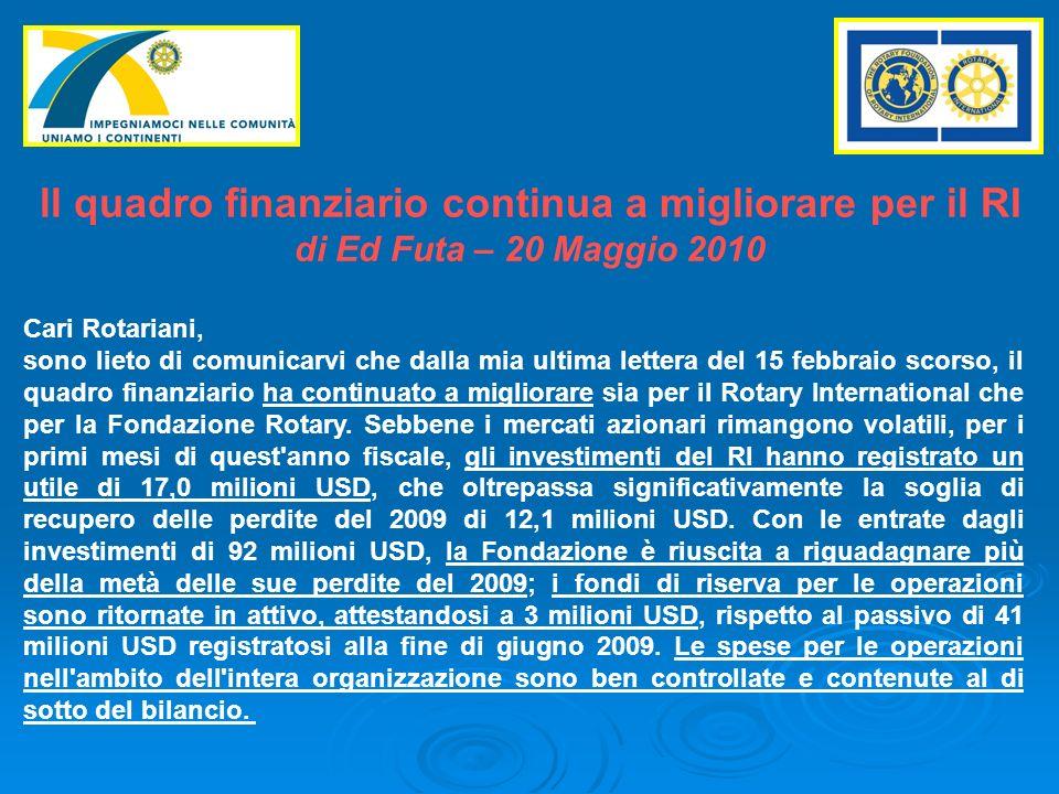 ll quadro finanziario continua a migliorare per il RI di Ed Futa – 20 Maggio 2010 Cari Rotariani, sono lieto di comunicarvi che dalla mia ultima lettera del 15 febbraio scorso, il quadro finanziario ha continuato a migliorare sia per il Rotary International che per la Fondazione Rotary.