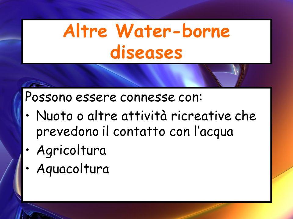 Altre Water-borne diseases Possono essere connesse con: Nuoto o altre attività ricreative che prevedono il contatto con lacqua Agricoltura Aquacoltura