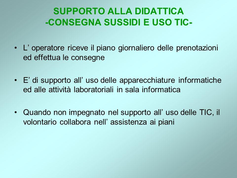 SUPPORTO ALLA DIDATTICA -CONSEGNA SUSSIDI E USO TIC- L operatore riceve il piano giornaliero delle prenotazioni ed effettua le consegne E di supporto