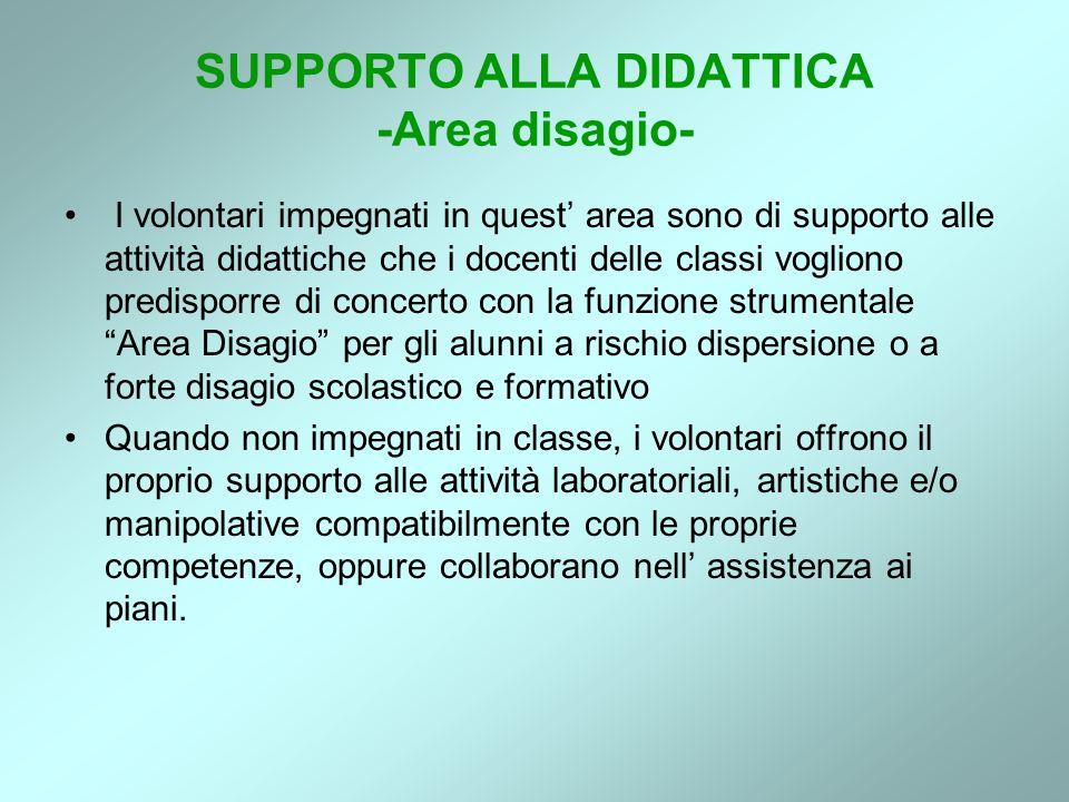 SUPPORTO ALLA DIDATTICA -Area disagio- I volontari impegnati in quest area sono di supporto alle attività didattiche che i docenti delle classi voglio