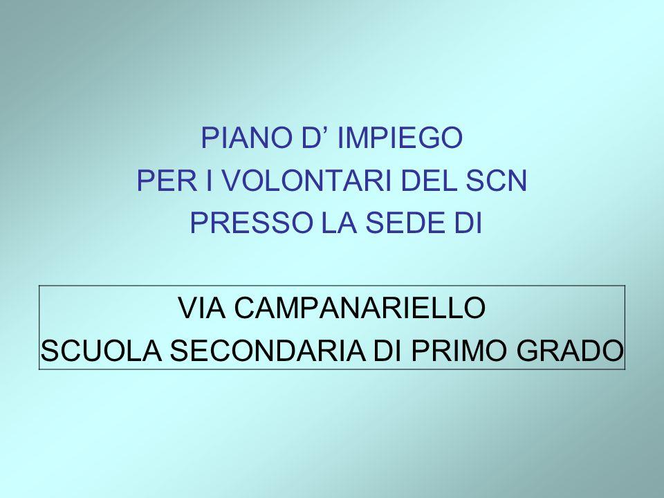 PIANO D IMPIEGO PER I VOLONTARI DEL SCN PRESSO LA SEDE DI VIA CAMPANARIELLO SCUOLA SECONDARIA DI PRIMO GRADO