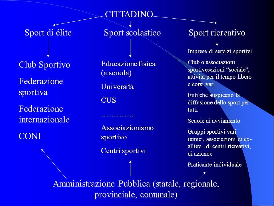 CITTADINO Sport ricreativoSport scolasticoSport di élite Club Sportivo Federazione sportiva Federazione internazionale CONI Educazione fisica (a scuol