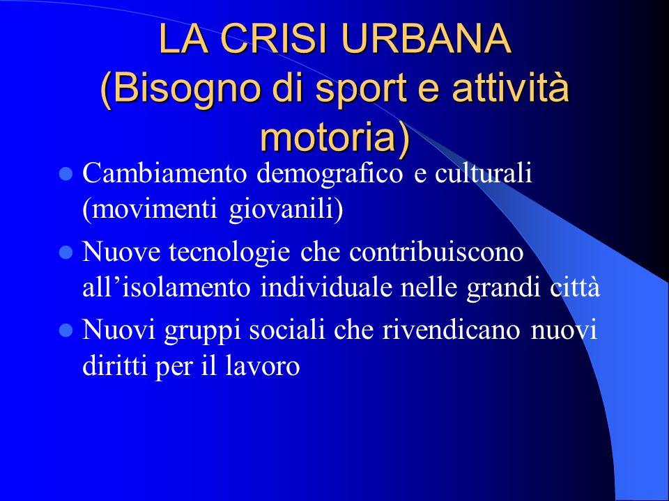 LA CRISI URBANA (Bisogno di sport e attività motoria) Cambiamento demografico e culturali (movimenti giovanili) Nuove tecnologie che contribuiscono al