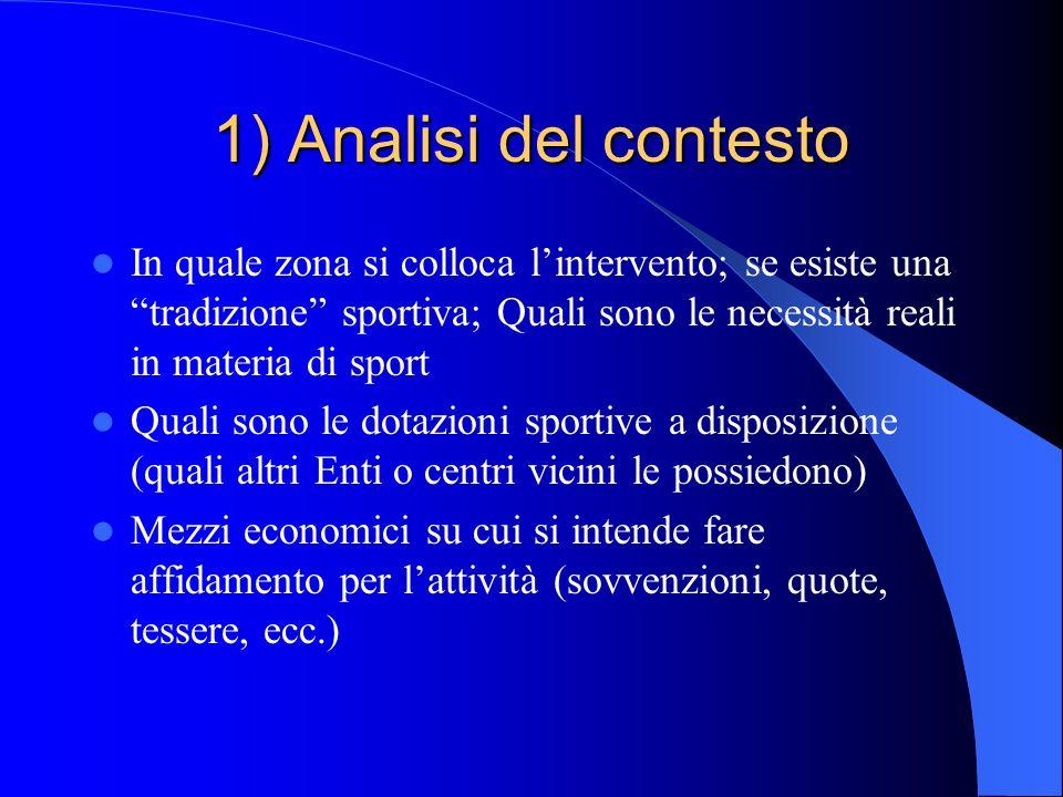 1) Analisi del contesto In quale zona si colloca lintervento; se esiste una tradizione sportiva; Quali sono le necessità reali in materia di sport Qua