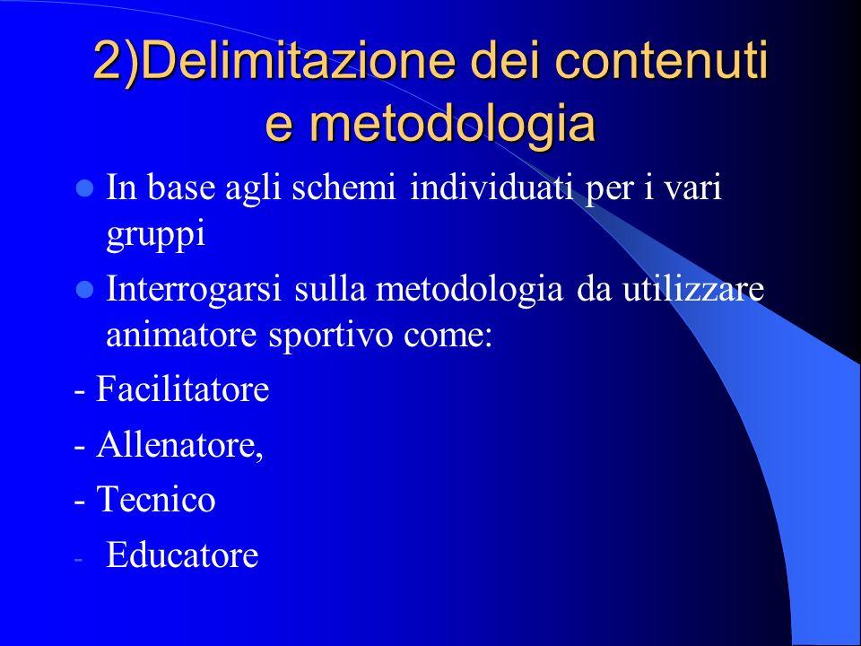 2)Delimitazione dei contenuti e metodologia In base agli schemi individuati per i vari gruppi Interrogarsi sulla metodologia da utilizzare animatore s