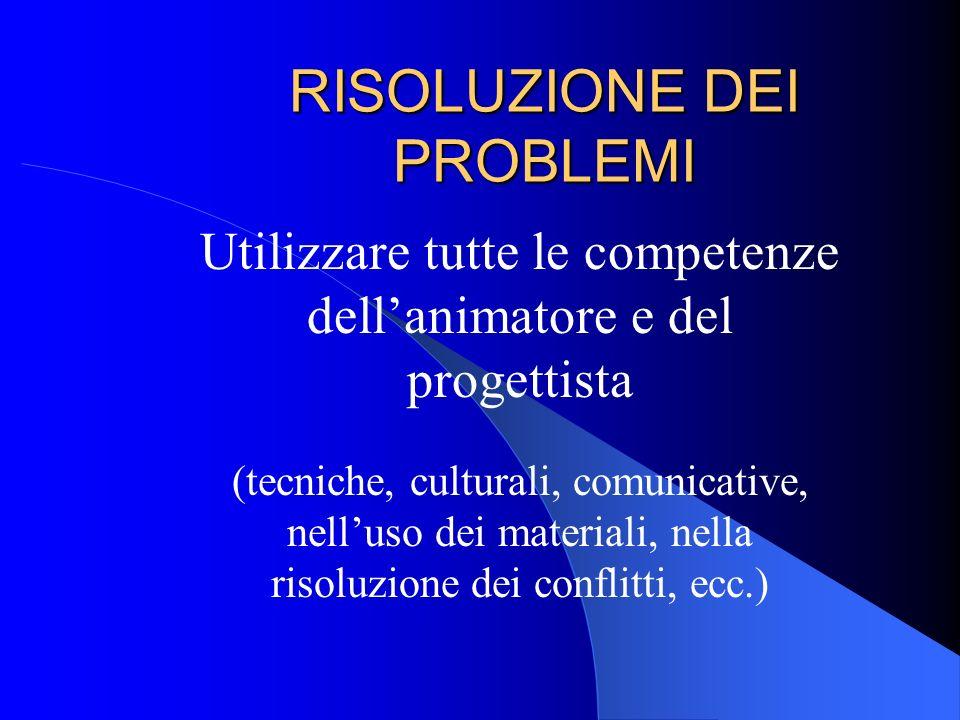 RISOLUZIONE DEI PROBLEMI Utilizzare tutte le competenze dellanimatore e del progettista (tecniche, culturali, comunicative, nelluso dei materiali, nel