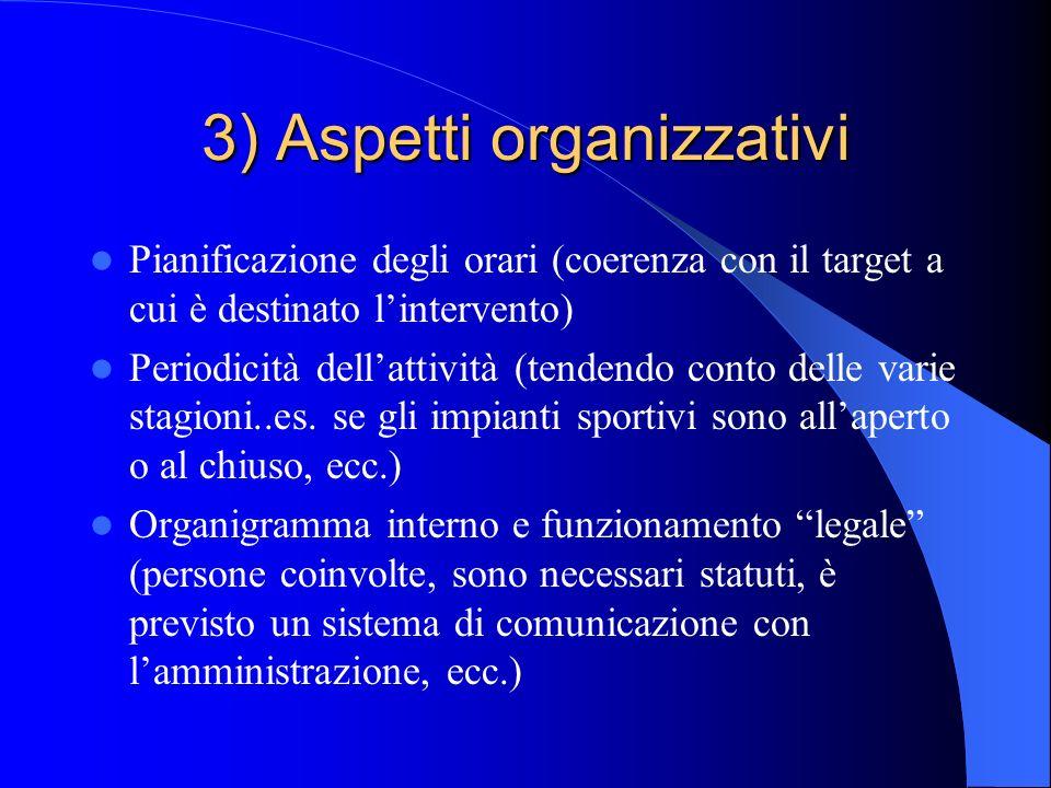 3) Aspetti organizzativi Pianificazione degli orari (coerenza con il target a cui è destinato lintervento) Periodicità dellattività (tendendo conto de