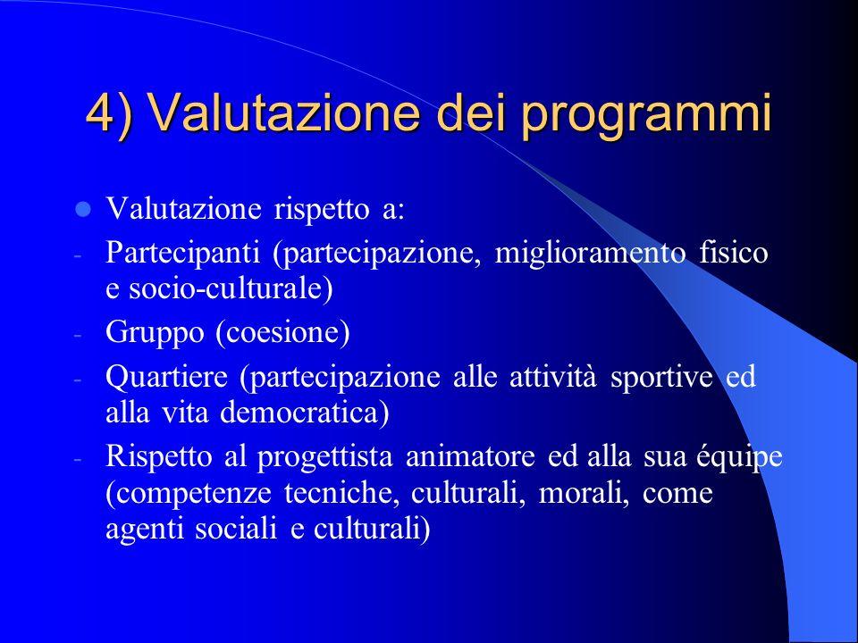 4) Valutazione dei programmi Valutazione rispetto a: - Partecipanti (partecipazione, miglioramento fisico e socio-culturale) - Gruppo (coesione) - Qua