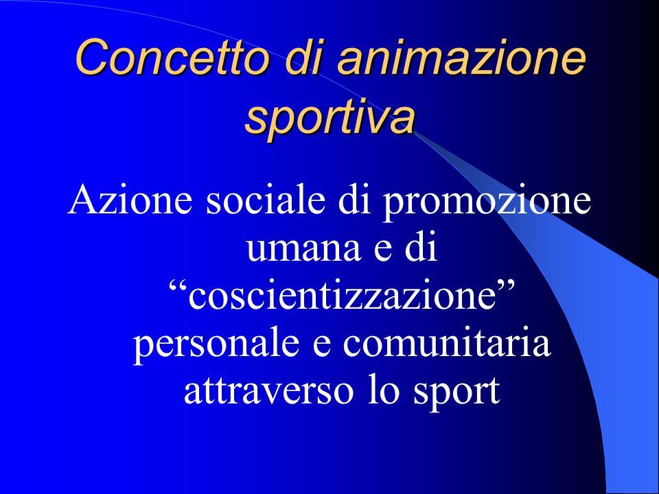 Concetto di animazione sportiva Azione sociale di promozione umana e di coscientizzazione personale e comunitaria attraverso lo sport