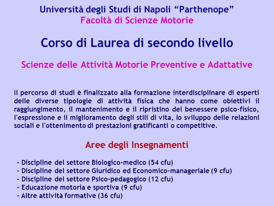 Università degli Studi di Napoli Parthenope Facoltà di Scienze Motorie Scienze delle Attività Motorie Preventive e Adattative Corso di Laurea di secon
