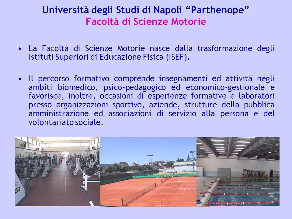 Università degli Studi di Napoli Parthenope Facoltà di Scienze Motorie La Facoltà di Scienze Motorie nasce dalla trasformazione degli Istituti Superio
