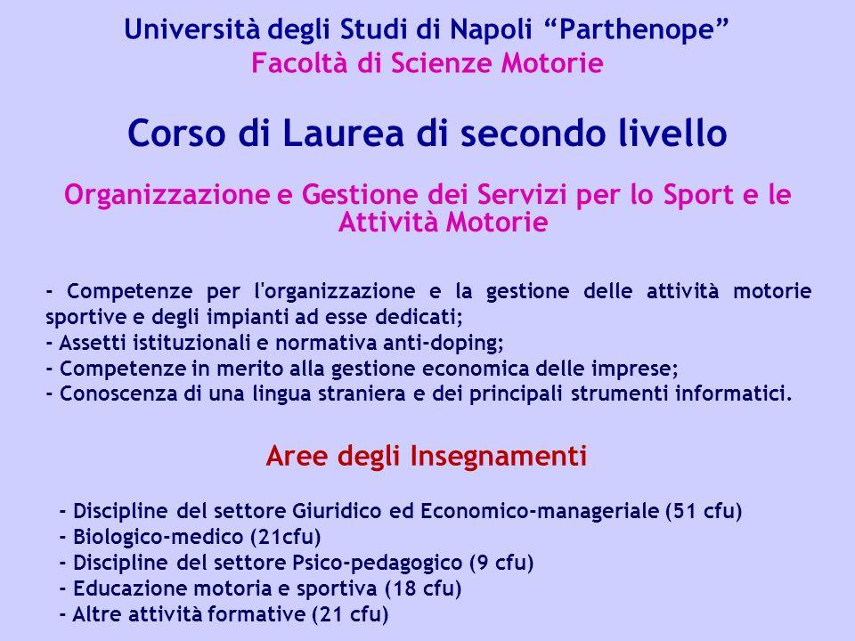 Università degli Studi di Napoli Parthenope Facoltà di Scienze Motorie Organizzazione e Gestione dei Servizi per lo Sport e le Attività Motorie Corso
