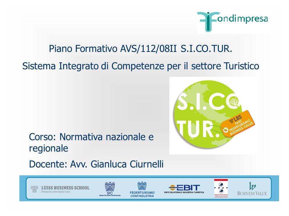 Piano Formativo AVS/112/08II S.I.CO.TUR. Sistema Integrato di Competenze per il settore Turistico Corso: Normativa nazionale e regionale Docente: Avv.