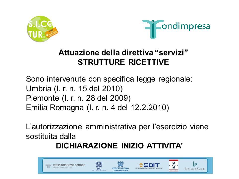 Attuazione della direttiva servizi STRUTTURE RICETTIVE Sono intervenute con specifica legge regionale: Umbria (l. r. n. 15 del 2010) Piemonte (l. r. n