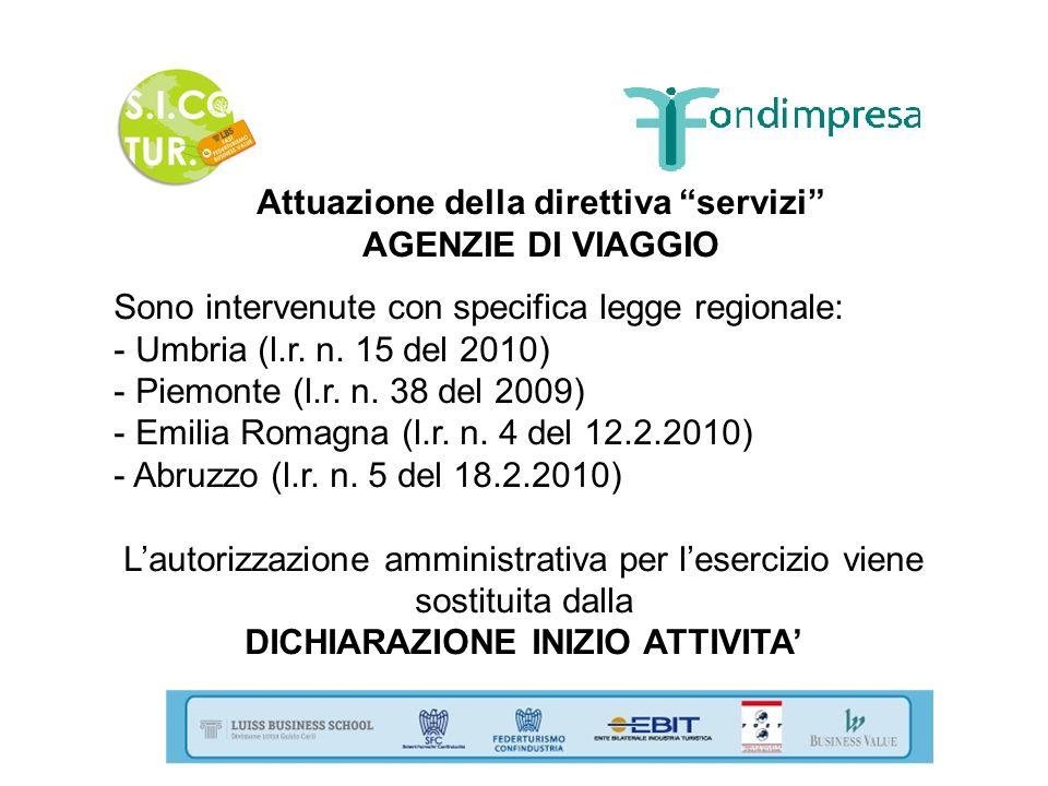 Attuazione della direttiva servizi AGENZIE DI VIAGGIO Sono intervenute con specifica legge regionale: - Umbria (l.r. n. 15 del 2010) - Piemonte (l.r.