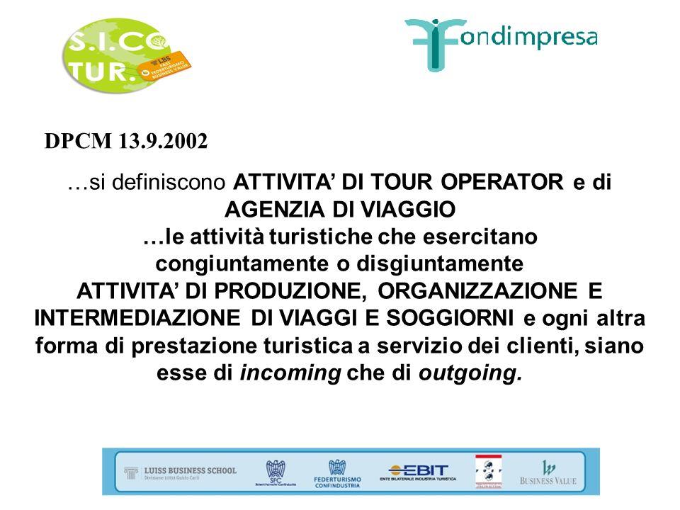 DPCM 13.9.2002 …si definiscono ATTIVITA DI TOUR OPERATOR e di AGENZIA DI VIAGGIO …le attività turistiche che esercitano congiuntamente o disgiuntament