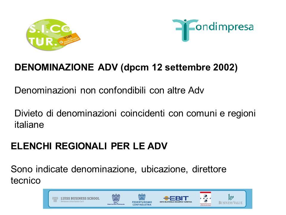 DENOMINAZIONE ADV (dpcm 12 settembre 2002) Denominazioni non confondibili con altre Adv Divieto di denominazioni coincidenti con comuni e regioni ital