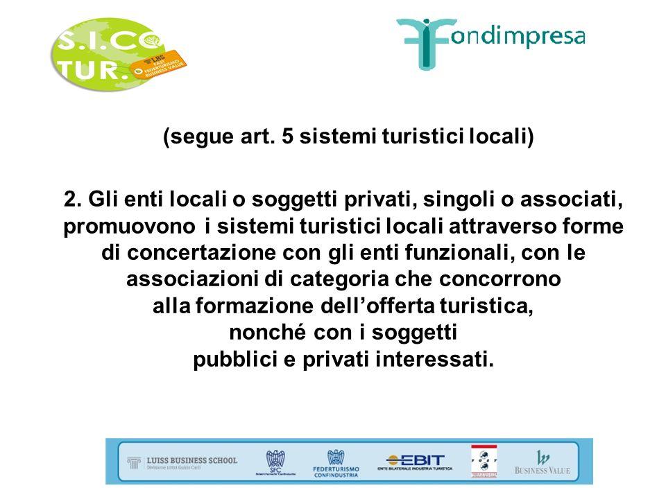 (segue art. 5 sistemi turistici locali) 2. Gli enti locali o soggetti privati, singoli o associati, promuovono i sistemi turistici locali attraverso f