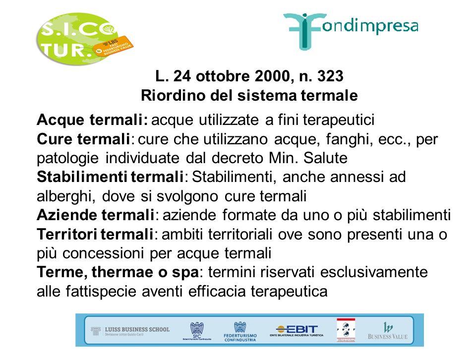 L. 24 ottobre 2000, n. 323 Riordino del sistema termale Acque termali: acque utilizzate a fini terapeutici Cure termali: cure che utilizzano acque, fa