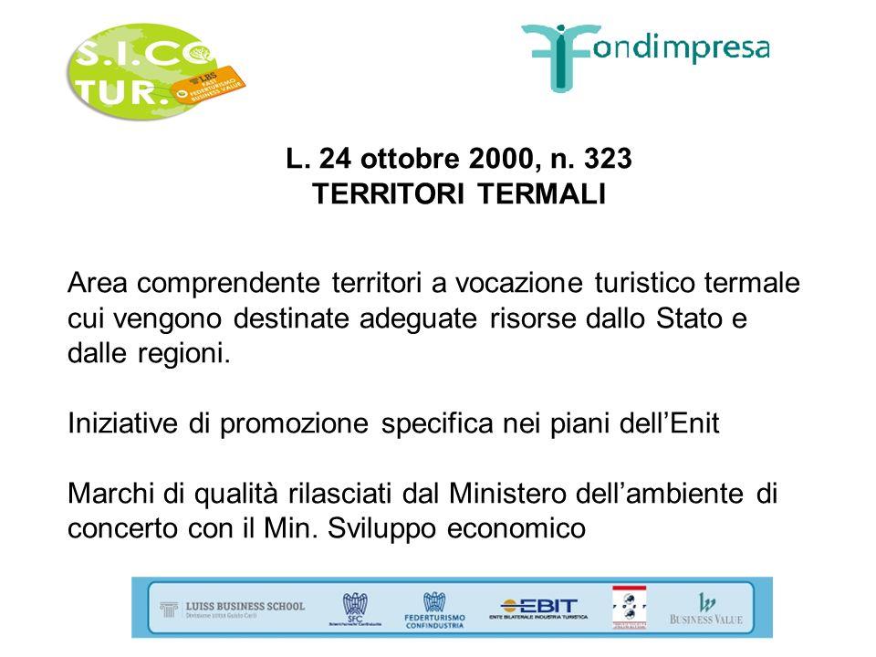 L. 24 ottobre 2000, n. 323 TERRITORI TERMALI Area comprendente territori a vocazione turistico termale cui vengono destinate adeguate risorse dallo St