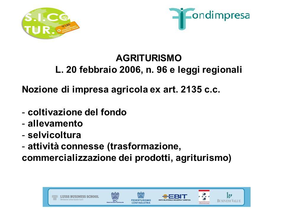 AGRITURISMO L. 20 febbraio 2006, n. 96 e leggi regionali Nozione di impresa agricola ex art. 2135 c.c. - coltivazione del fondo - allevamento - selvic