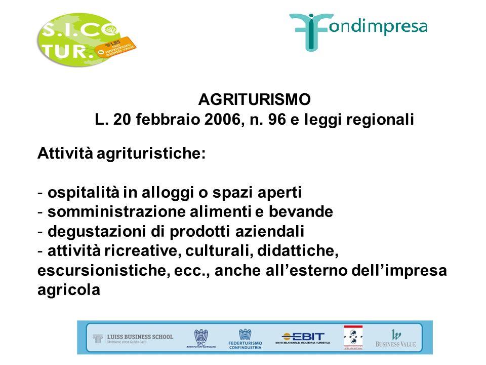 AGRITURISMO L. 20 febbraio 2006, n. 96 e leggi regionali Attività agrituristiche: - ospitalità in alloggi o spazi aperti - somministrazione alimenti e