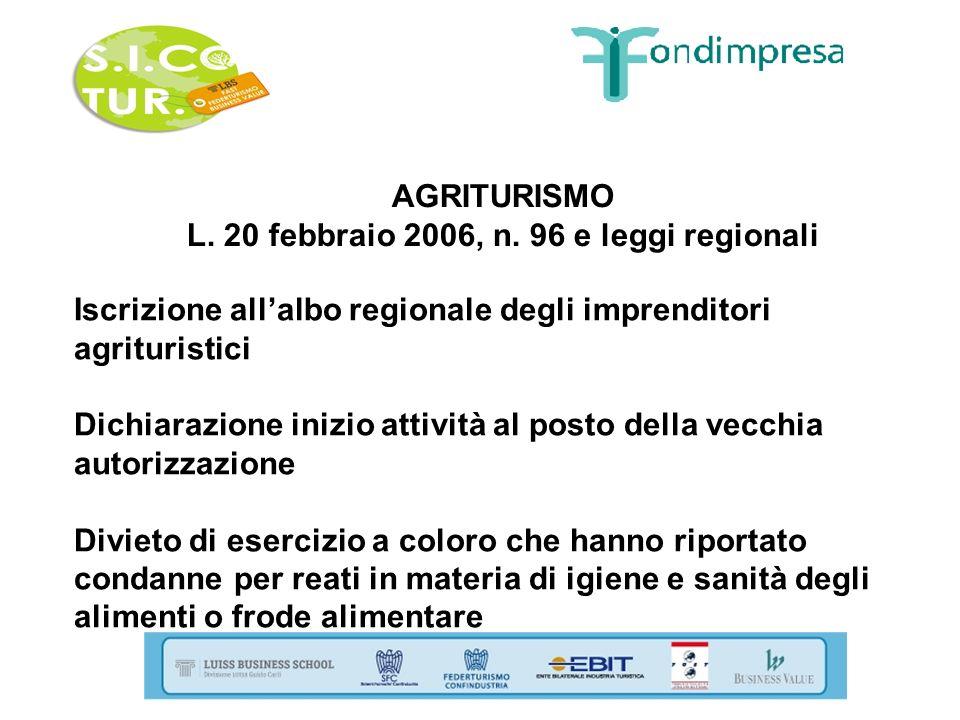 AGRITURISMO L. 20 febbraio 2006, n. 96 e leggi regionali Iscrizione allalbo regionale degli imprenditori agrituristici Dichiarazione inizio attività a
