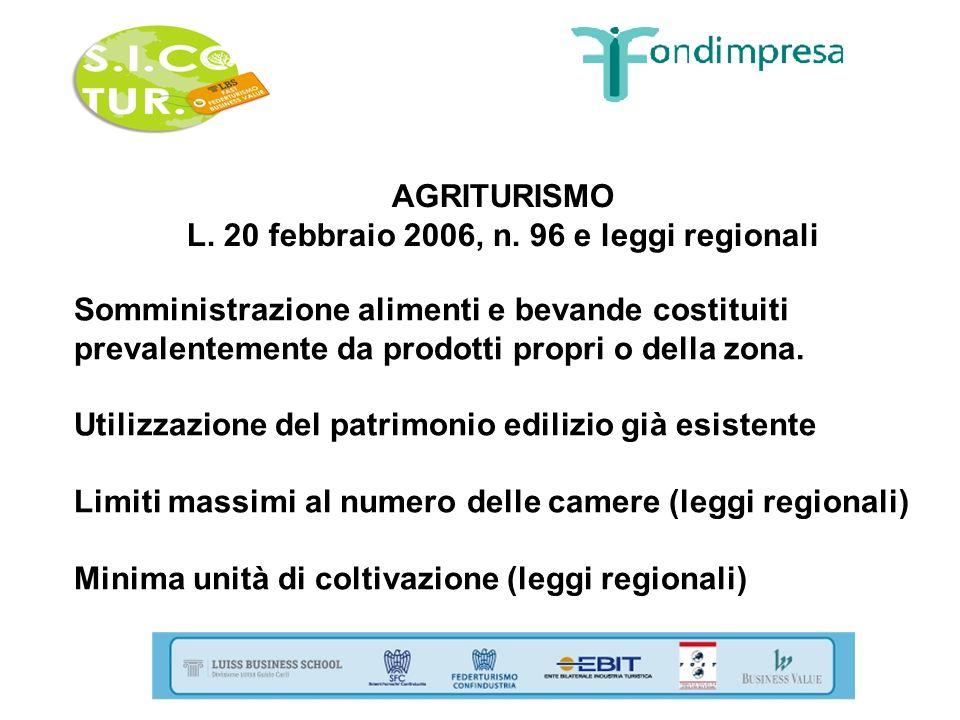 AGRITURISMO L. 20 febbraio 2006, n. 96 e leggi regionali Somministrazione alimenti e bevande costituiti prevalentemente da prodotti propri o della zon