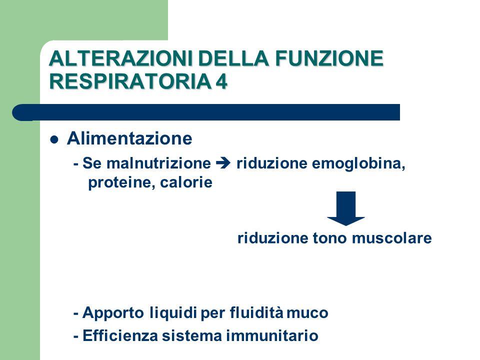 ALTERAZIONI DELLA FUNZIONE RESPIRATORIA 4 Alimentazione - Se malnutrizione riduzione emoglobina, proteine, calorie - Apporto liquidi per fluidità muco