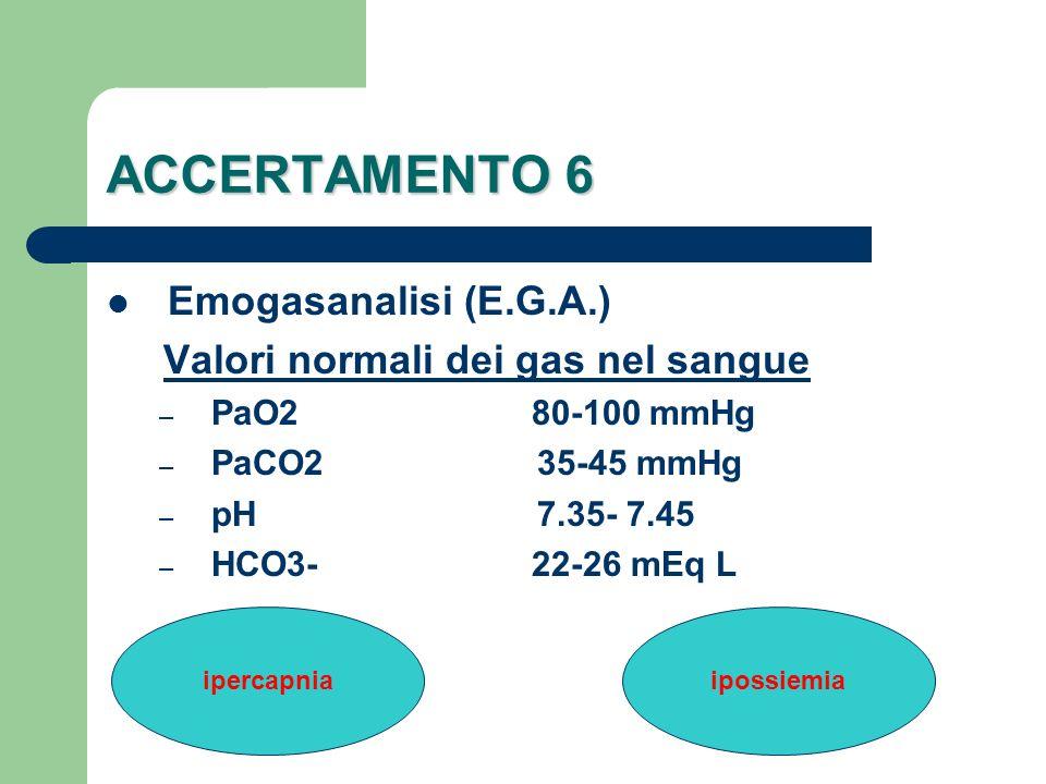 ACCERTAMENTO 6 Emogasanalisi (E.G.A.) Valori normali dei gas nel sangue – PaO2 80-100 mmHg – PaCO2 35-45 mmHg – pH 7.35- 7.45 – HCO3- 22-26 mEq L iper