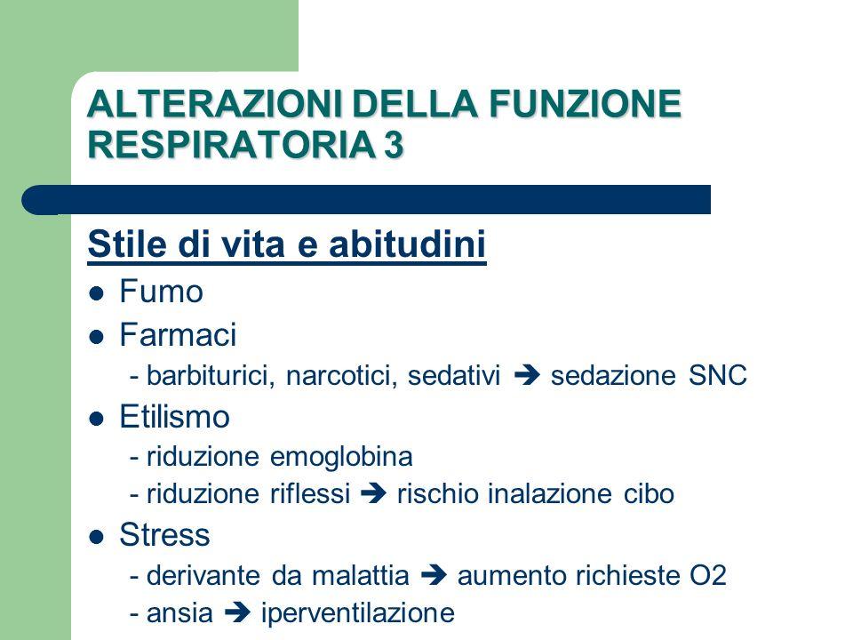 ALTERAZIONI DELLA FUNZIONE RESPIRATORIA 3 Stile di vita e abitudini Fumo Farmaci - barbiturici, narcotici, sedativi sedazione SNC Etilismo - riduzione